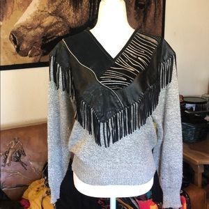 Vintage Sweater w/ leather and fringe detail